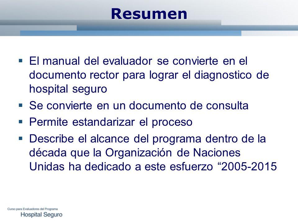 Resumen El manual del evaluador se convierte en el documento rector para lograr el diagnostico de hospital seguro Se convierte en un documento de cons