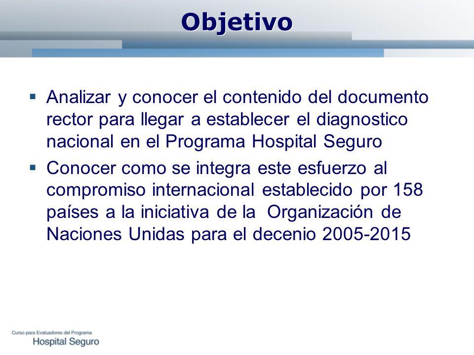 Objetivo Analizar y conocer el contenido del documento rector para llegar a establecer el diagnostico nacional en el Programa Hospital Seguro Conocer