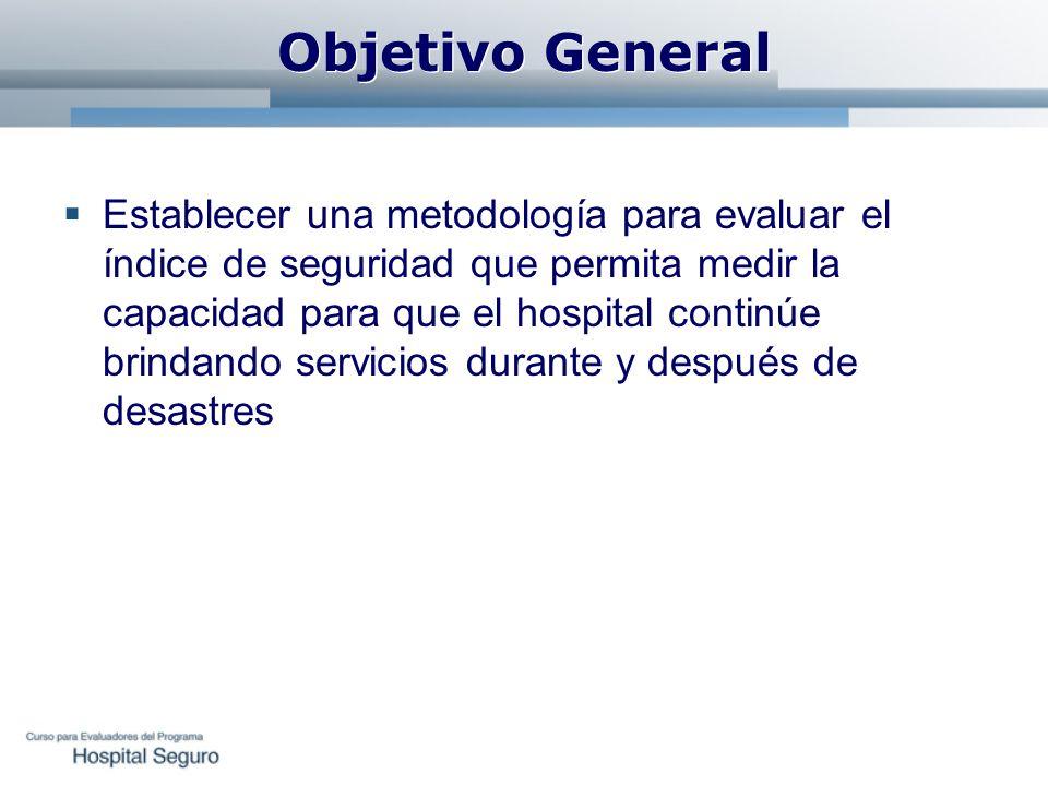 Objetivo General Establecer una metodología para evaluar el índice de seguridad que permita medir la capacidad para que el hospital continúe brindando