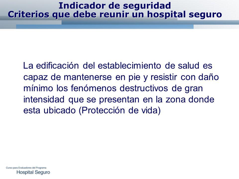 Indicador de seguridad Criterios que debe reunir un hospital seguro La edificación del establecimiento de salud es capaz de mantenerse en pie y resist