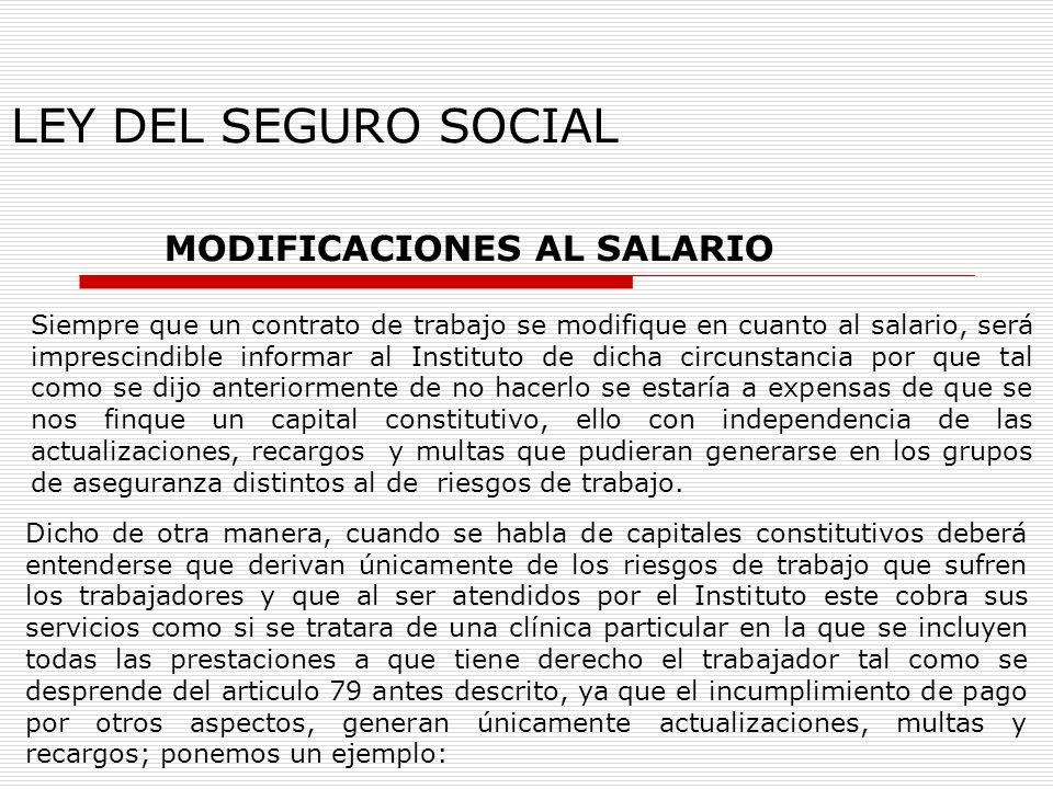 LEY DEL SEGURO SOCIAL MODIFICACIONES AL SALARIO Siempre que un contrato de trabajo se modifique en cuanto al salario, será imprescindible informar al