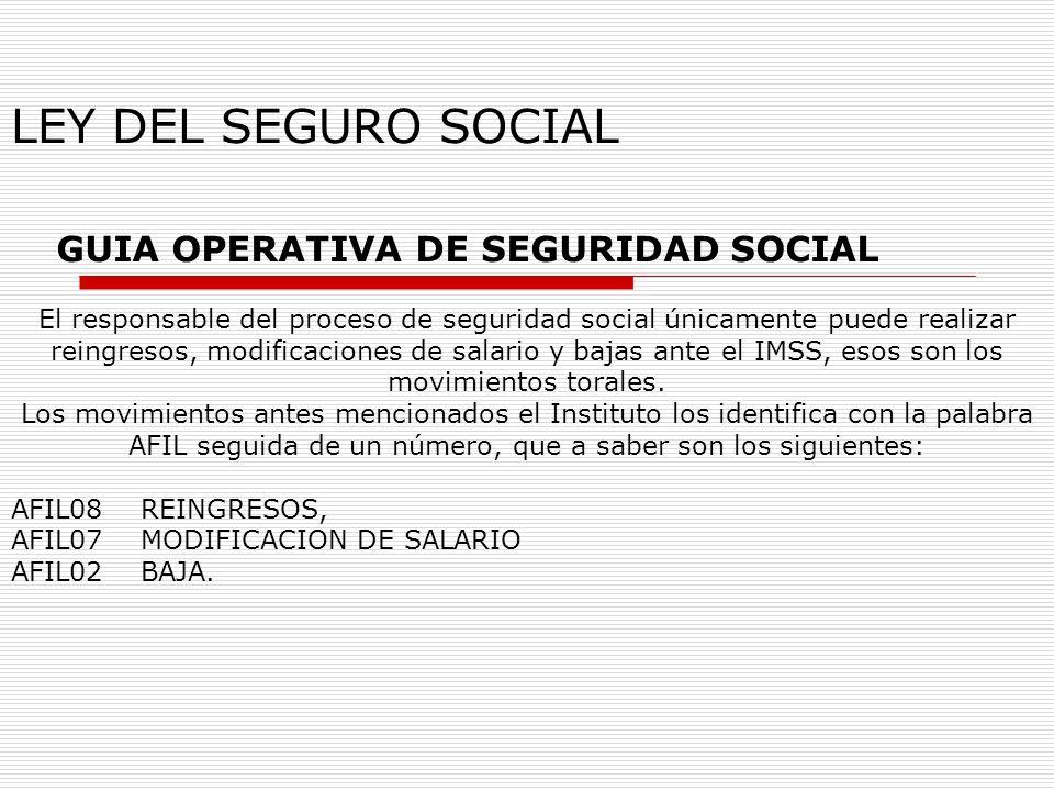 GUIA OPERATIVA DE SEGURIDAD SOCIAL El responsable del proceso de seguridad social únicamente puede realizar reingresos, modificaciones de salario y ba