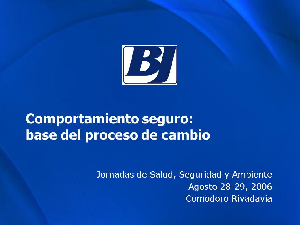 Comportamiento seguro: base del proceso de cambio Jornadas de Salud, Seguridad y Ambiente Agosto 28-29, 2006 Comodoro Rivadavia