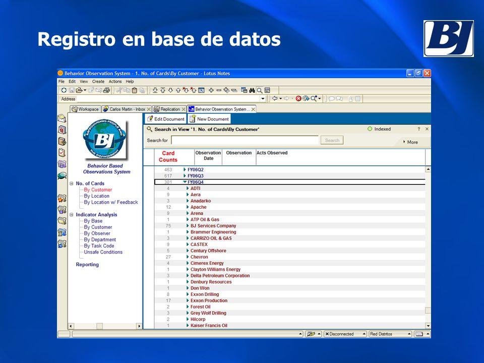 Registro en base de datos