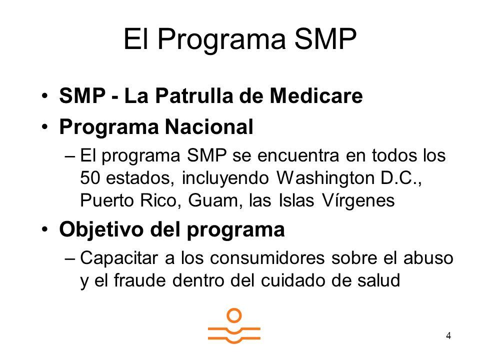 4 El Programa SMP SMP - La Patrulla de Medicare Programa Nacional –El programa SMP se encuentra en todos los 50 estados, incluyendo Washington D.C., Puerto Rico, Guam, las Islas Vírgenes Objetivo del programa –Capacitar a los consumidores sobre el abuso y el fraude dentro del cuidado de salud