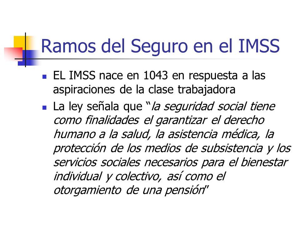 Ramos del Seguro en el IMSS EL IMSS nace en 1043 en respuesta a las aspiraciones de la clase trabajadora La ley señala que la seguridad social tiene c