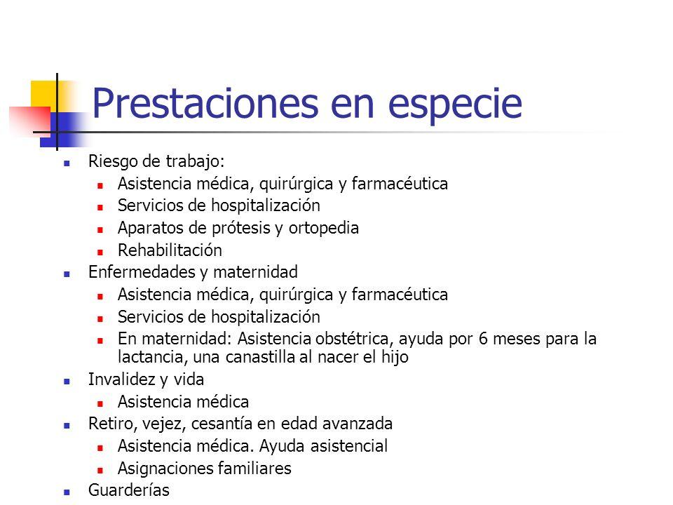 Prestaciones en especie Riesgo de trabajo: Asistencia médica, quirúrgica y farmacéutica Servicios de hospitalización Aparatos de prótesis y ortopedia