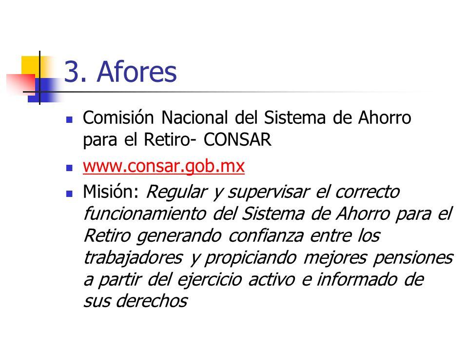3. Afores Comisión Nacional del Sistema de Ahorro para el Retiro- CONSAR www.consar.gob.mx Misión: Regular y supervisar el correcto funcionamiento del
