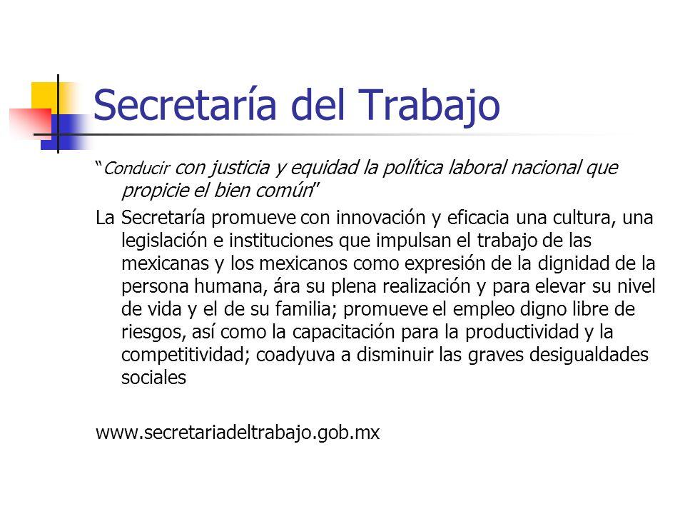 Secretaría del Trabajo Conducir con justicia y equidad la política laboral nacional que propicie el bien común La Secretaría promueve con innovación y