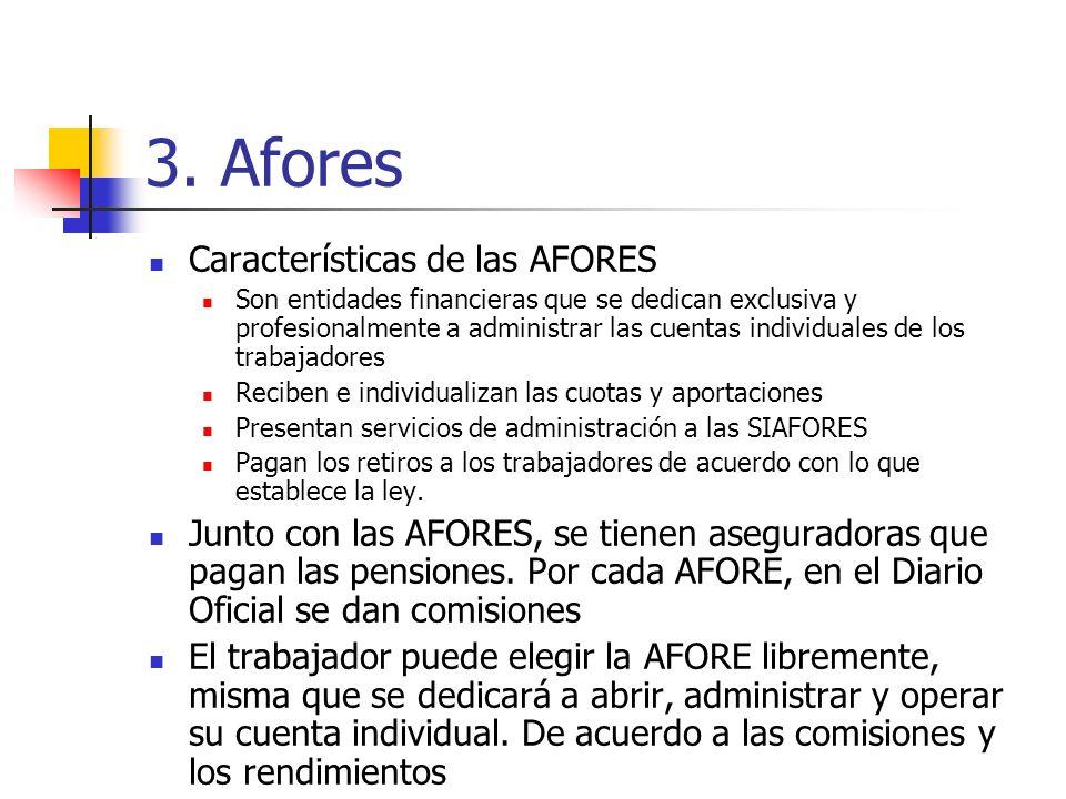 3. Afores Características de las AFORES Son entidades financieras que se dedican exclusiva y profesionalmente a administrar las cuentas individuales d