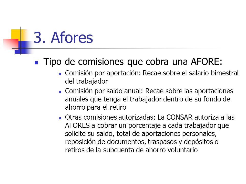 3. Afores Tipo de comisiones que cobra una AFORE: Comisión por aportación: Recae sobre el salario bimestral del trabajador Comisión por saldo anual: R