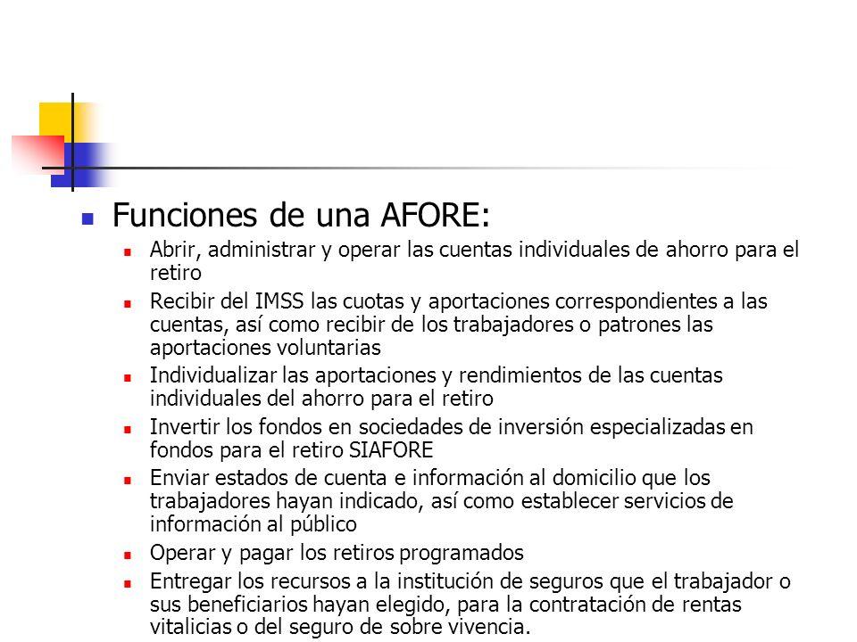Funciones de una AFORE: Abrir, administrar y operar las cuentas individuales de ahorro para el retiro Recibir del IMSS las cuotas y aportaciones corre