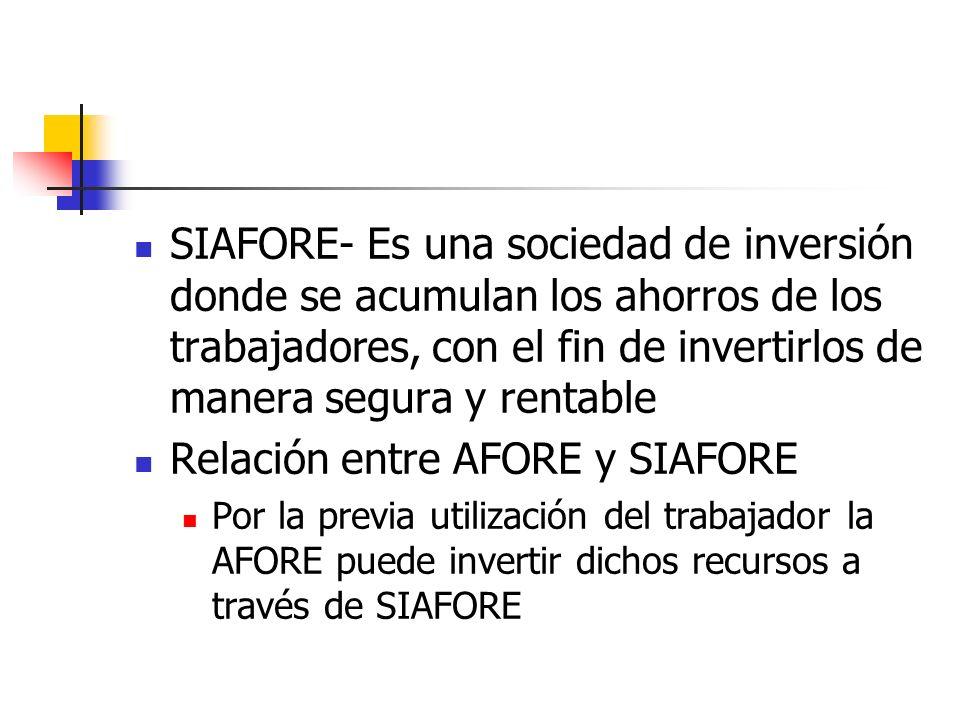 SIAFORE- Es una sociedad de inversión donde se acumulan los ahorros de los trabajadores, con el fin de invertirlos de manera segura y rentable Relació