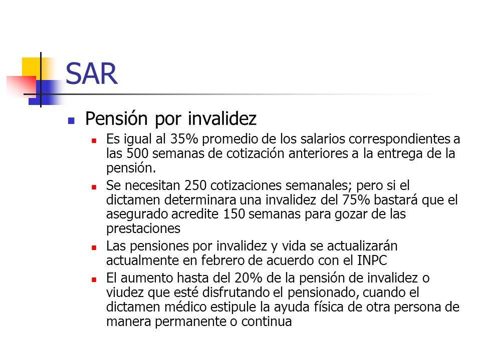 SAR Pensión por invalidez Es igual al 35% promedio de los salarios correspondientes a las 500 semanas de cotización anteriores a la entrega de la pens