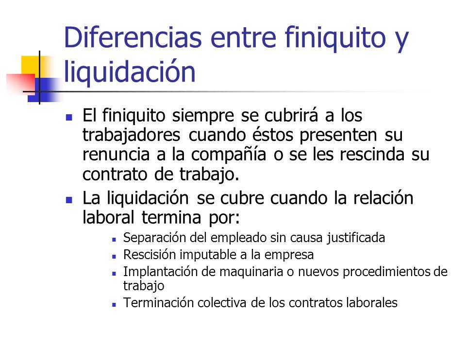 Diferencias entre finiquito y liquidación El finiquito siempre se cubrirá a los trabajadores cuando éstos presenten su renuncia a la compañía o se les