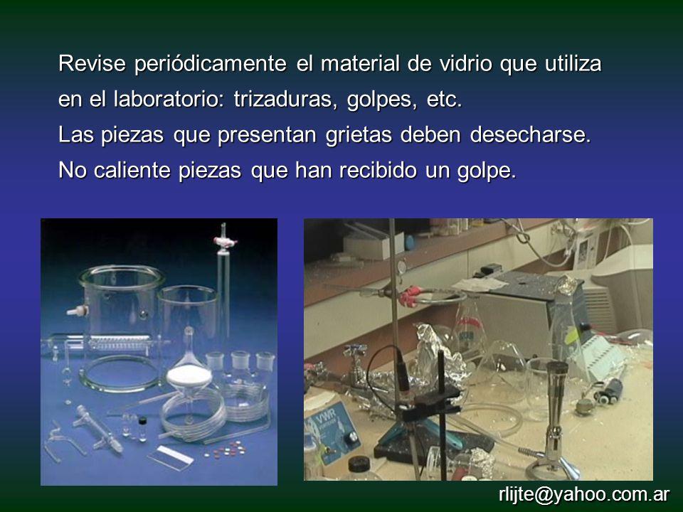 Revise periódicamente el material de vidrio que utiliza en el laboratorio: trizaduras, golpes, etc. Las piezas que presentan grietas deben desecharse.