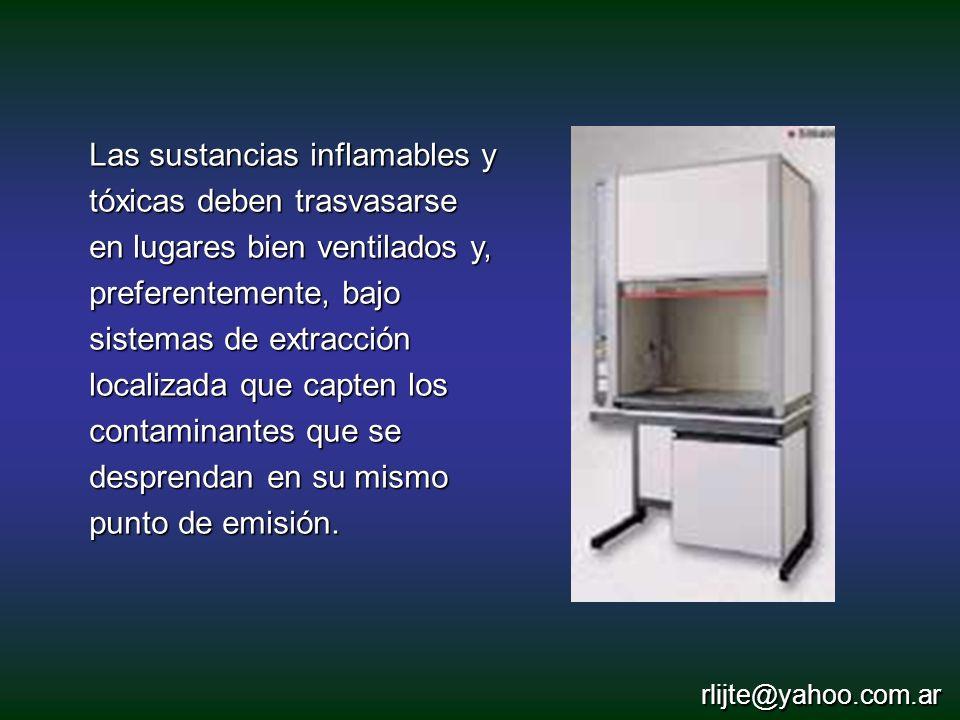 Las sustancias inflamables y tóxicas deben trasvasarse en lugares bien ventilados y, preferentemente, bajo sistemas de extracción localizada que capte