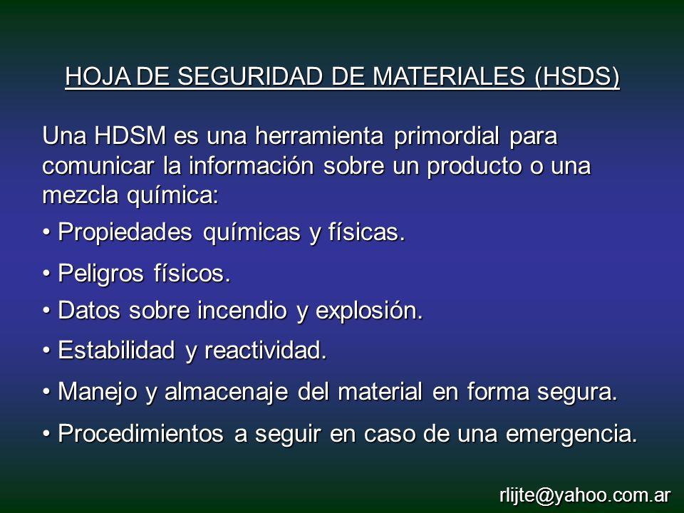 HOJA DE SEGURIDAD DE MATERIALES (HSDS) Una HDSM es una herramienta primordial para comunicar la información sobre un producto o una mezcla química: Pr