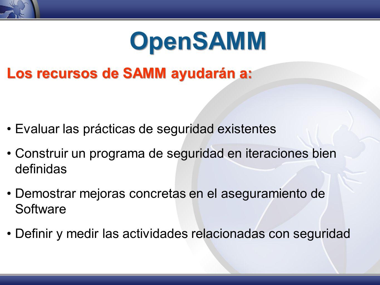 OpenSAMM Los recursos de SAMM ayudarán a: Evaluar las prácticas de seguridad existentes Construir un programa de seguridad en iteraciones bien definid