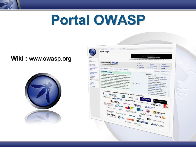 Portal OWASP Wiki : www.owasp.org