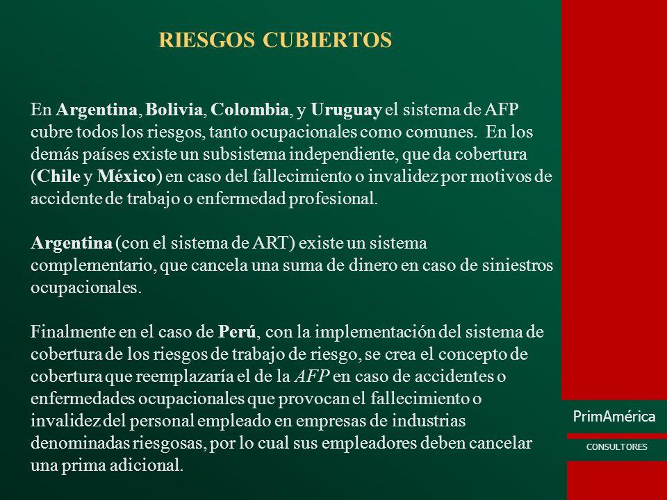 PrimAmérica CONSULTORES RIESGOS CUBIERTOS En Argentina, Bolivia, Colombia, y Uruguay el sistema de AFP cubre todos los riesgos, tanto ocupacionales co