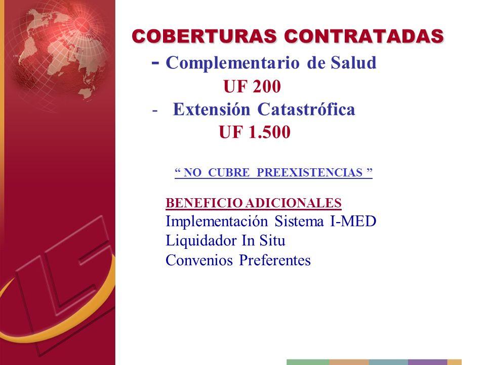 COBERTURAS CONTRATADAS - Complementario de Salud UF 200 - Extensión Catastrófica UF 1.500 NO CUBRE PREEXISTENCIAS BENEFICIO ADICIONALES Implementación