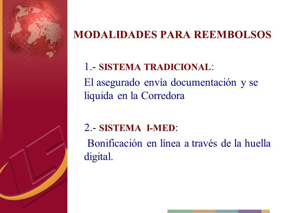MODALIDADES PARA REEMBOLSOS 1.- SISTEMA TRADICIONAL : El asegurado envía documentación y se liquida en la Corredora 2.- SISTEMA I-MED : Bonificación e