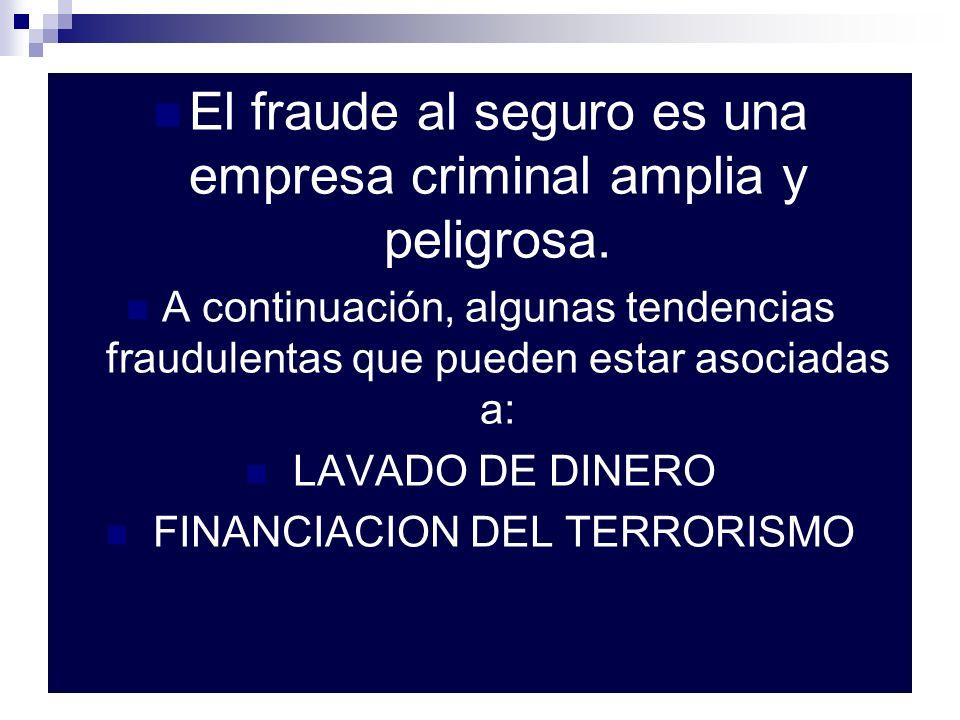 El fraude al seguro es una empresa criminal amplia y peligrosa. A continuación, algunas tendencias fraudulentas que pueden estar asociadas a: LAVADO D