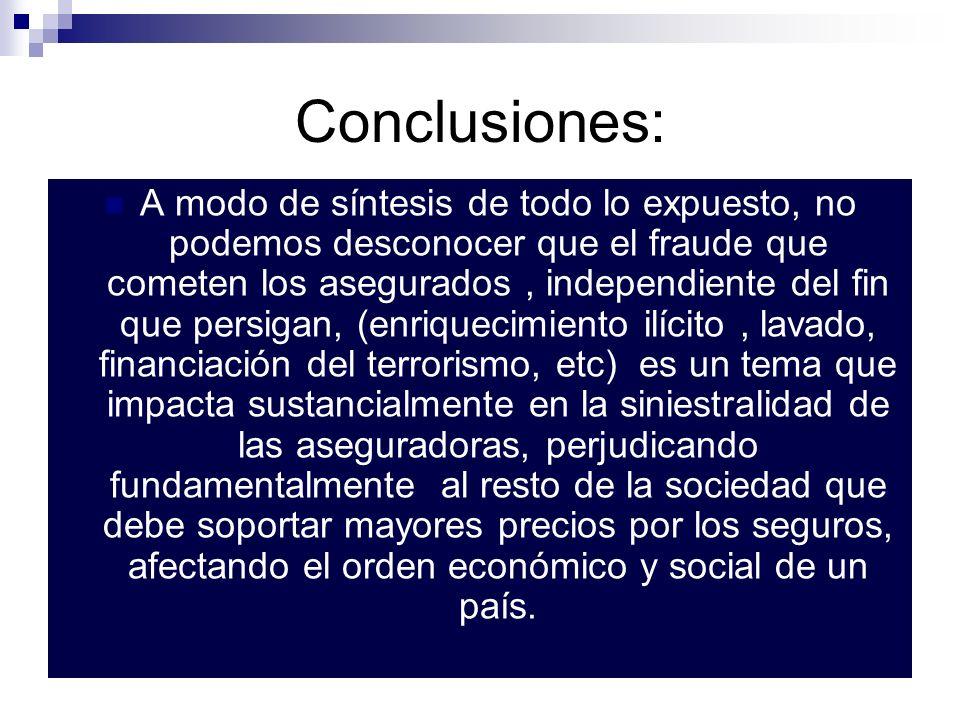 Conclusiones: A modo de síntesis de todo lo expuesto, no podemos desconocer que el fraude que cometen los asegurados, independiente del fin que persig