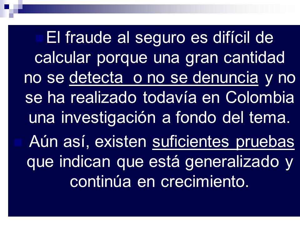 El fraude al seguro es difícil de calcular porque una gran cantidad no se detecta o no se denuncia y no se ha realizado todavía en Colombia una invest