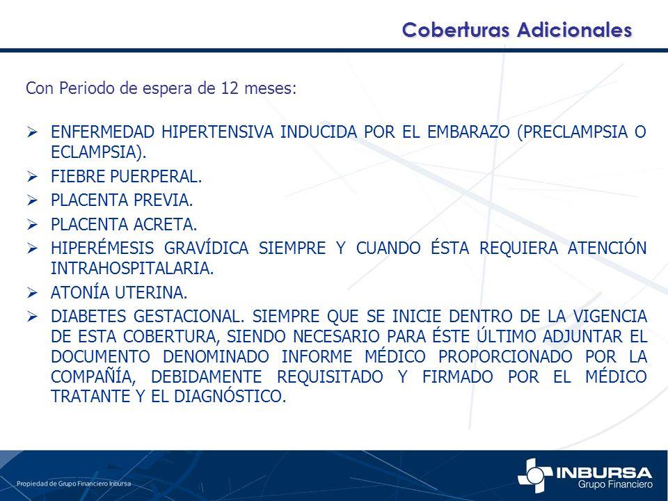 Con Periodo de espera de 12 meses: ENFERMEDAD HIPERTENSIVA INDUCIDA POR EL EMBARAZO (PRECLAMPSIA O ECLAMPSIA). FIEBRE PUERPERAL. PLACENTA PREVIA. PLAC