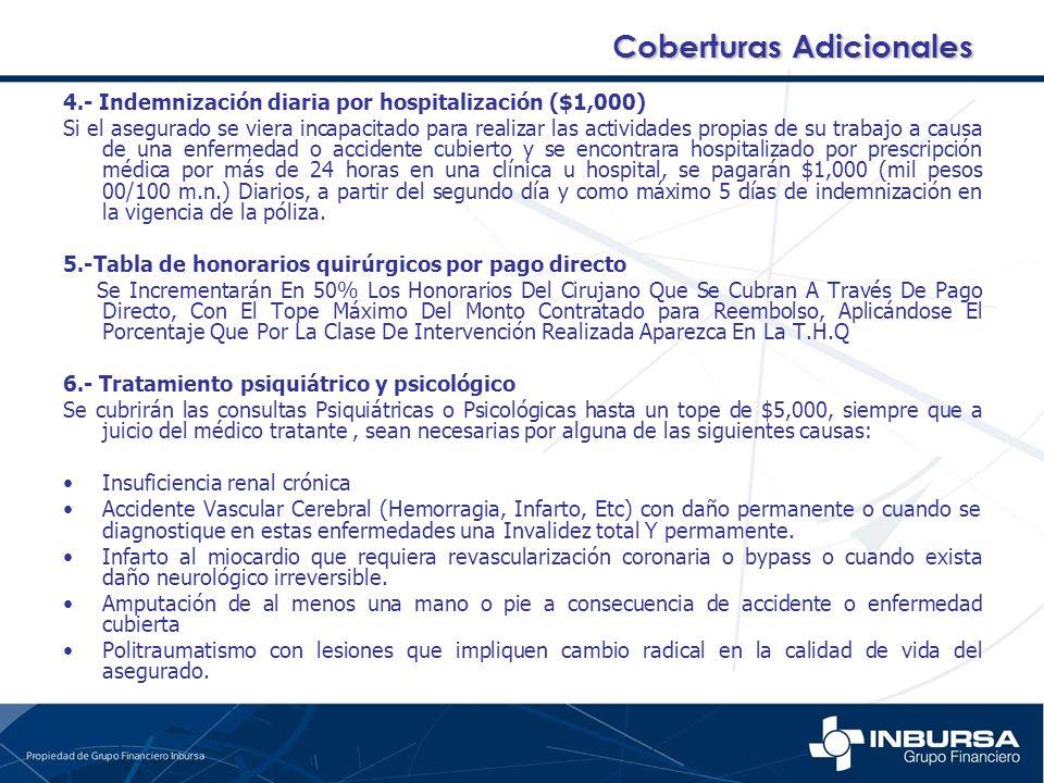 4.- Indemnización diaria por hospitalización ($1,000) Si el asegurado se viera incapacitado para realizar las actividades propias de su trabajo a caus