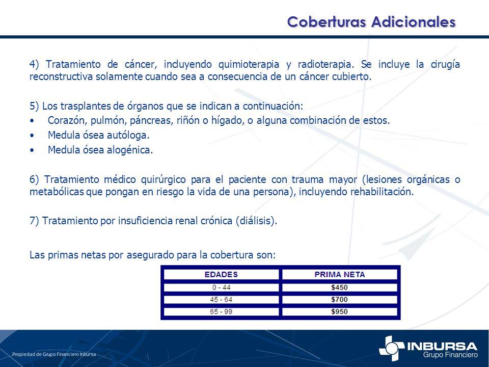 4) Tratamiento de cáncer, incluyendo quimioterapia y radioterapia. Se incluye la cirugía reconstructiva solamente cuando sea a consecuencia de un cánc