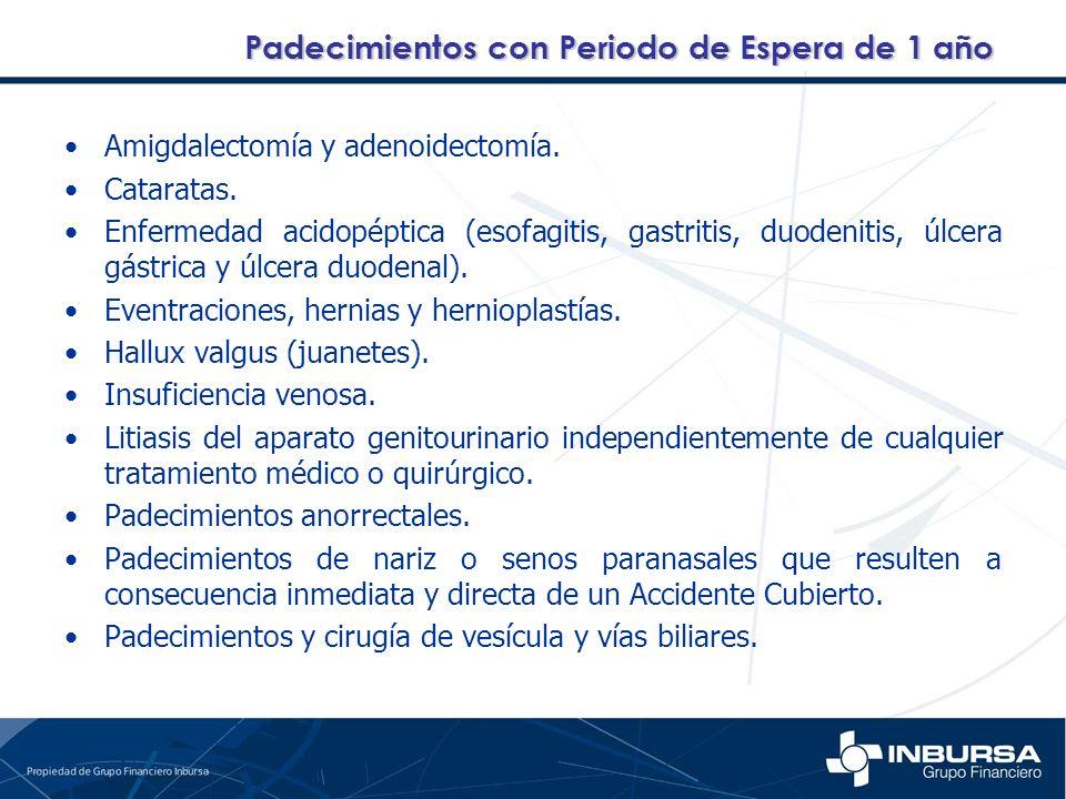 Amigdalectomía y adenoidectomía. Cataratas. Enfermedad acidopéptica (esofagitis, gastritis, duodenitis, úlcera gástrica y úlcera duodenal). Eventracio