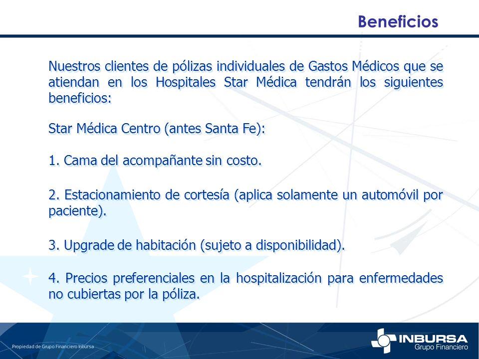 Beneficios Nuestros clientes de pólizas individuales de Gastos Médicos que se atiendan en los Hospitales Star Médica tendrán los siguientes beneficios