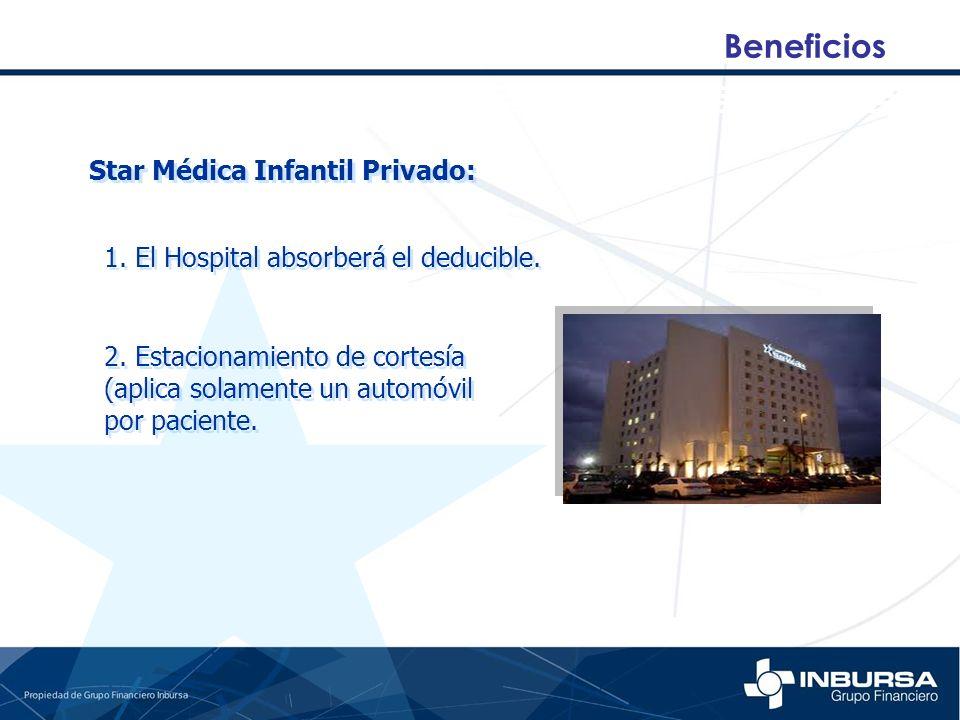 Beneficios Star Médica Infantil Privado: 1. El Hospital absorberá el deducible. 2. Estacionamiento de cortesía (aplica solamente un automóvil por paci