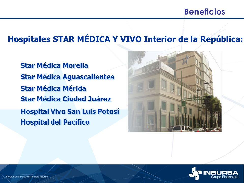 Beneficios Hospitales STAR MÉDICA Y VIVO Interior de la República: Star Médica Morelia Star Médica Aguascalientes Star Médica Mérida Star Médica Ciuda