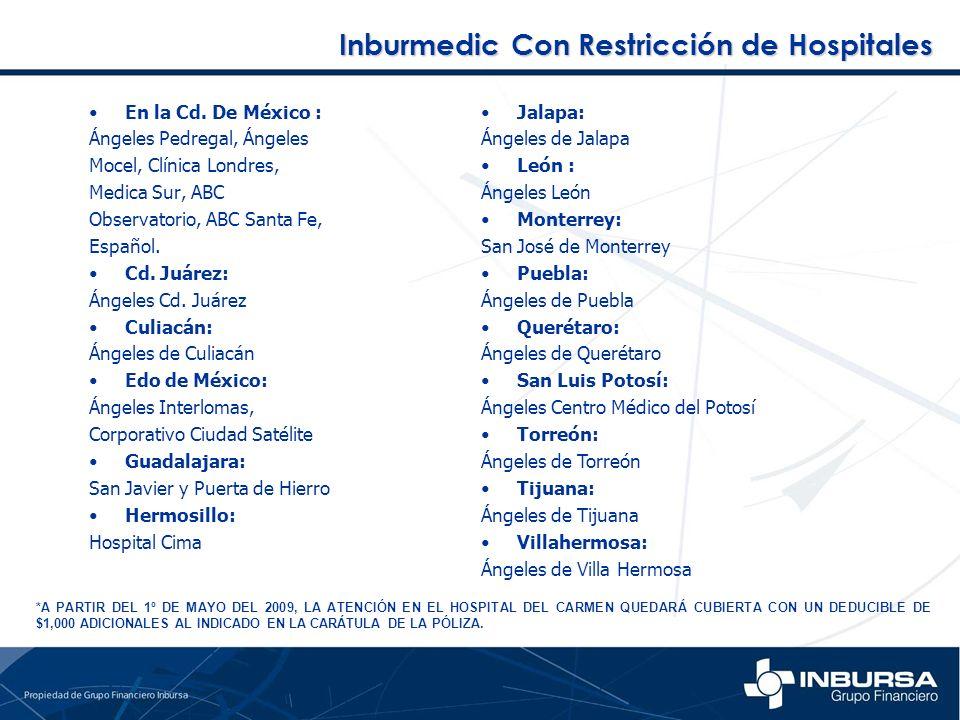 Inburmedic Con Restricción de Hospitales En la Cd. De México : Ángeles Pedregal, Ángeles Mocel, Clínica Londres, Medica Sur, ABC Observatorio, ABC San