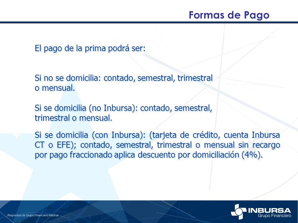 Formas de Pago Si no se domicilia: contado, semestral, trimestral o mensual. Si no se domicilia: contado, semestral, trimestral o mensual. El pago de