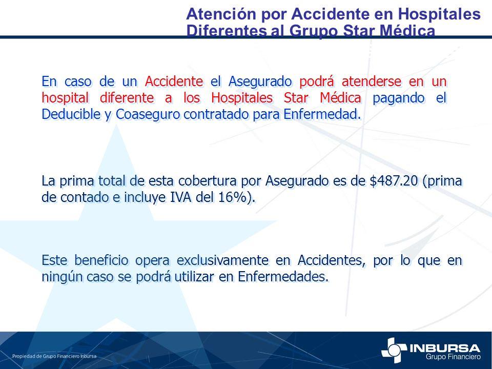 Atención por Accidente en Hospitales En caso de un Accidente el Asegurado podrá atenderse en un hospital diferente a los Hospitales Star Médica pagand