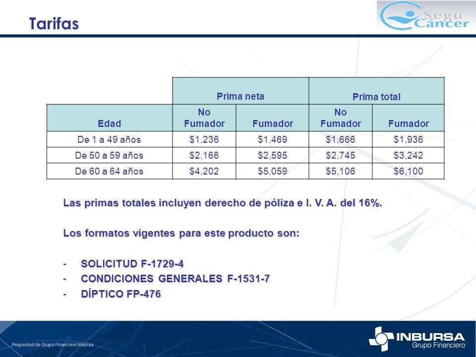 Las primas totales incluyen derecho de póliza e I. V. A. del 16%. Los formatos vigentes para este producto son: -SOLICITUD F-1729-4 -CONDICIONES GENER