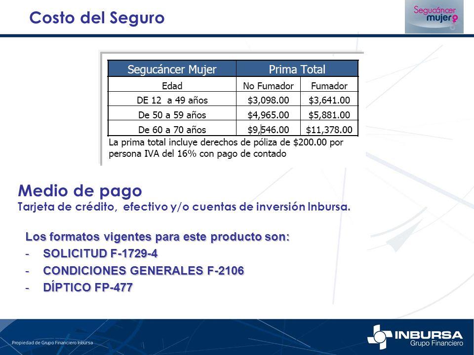 Costo del Seguro Medio de pago Tarjeta de crédito, efectivo y/o cuentas de inversión Inbursa. Los formatos vigentes para este producto son: -SOLICITUD