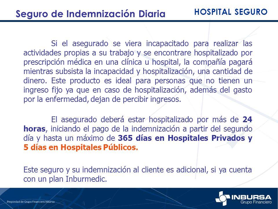 Si el asegurado se viera incapacitado para realizar las actividades propias a su trabajo y se encontrare hospitalizado por prescripción médica en una