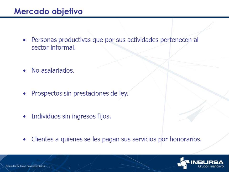 Mercado objetivo Personas productivas que por sus actividades pertenecen al sector informal. No asalariados. Prospectos sin prestaciones de ley. Indiv