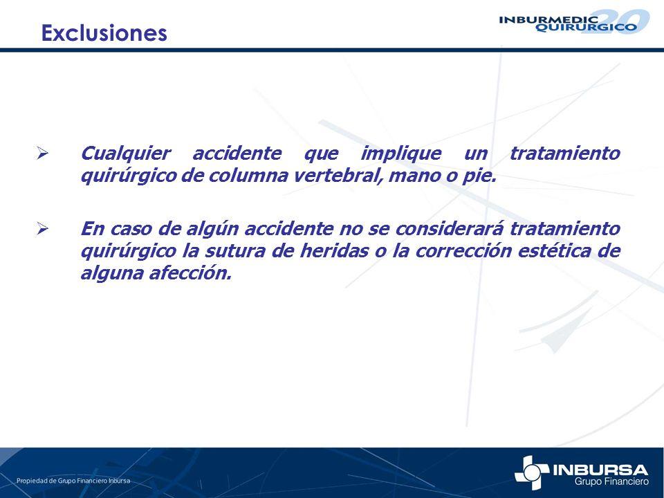 Cualquier accidente que implique un tratamiento quirúrgico de columna vertebral, mano o pie. En caso de algún accidente no se considerará tratamiento