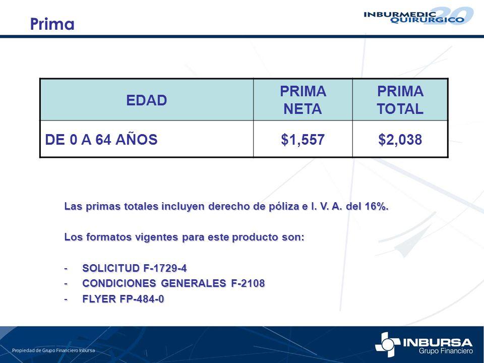 EDAD PRIMA NETA PRIMA TOTAL DE 0 A 64 AÑOS$1,557$2,038 Prima Las primas totales incluyen derecho de póliza e I. V. A. del 16%. Los formatos vigentes p