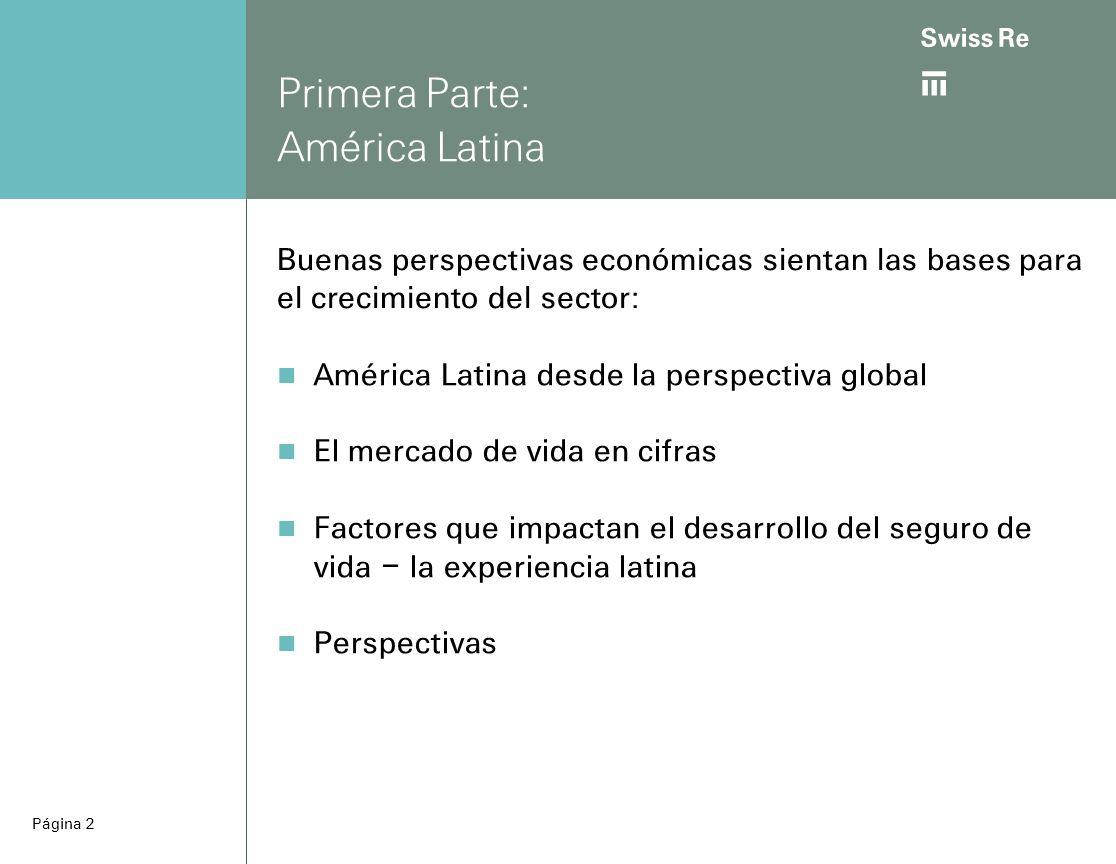 ab Página 2 América Latina desde la perspectiva global El mercado de vida en cifras Factores que impactan el desarrollo del seguro de vida – la experiencia latina Perspectivas Primera Parte: América Latina Buenas perspectivas económicas sientan las bases para el crecimiento del sector: