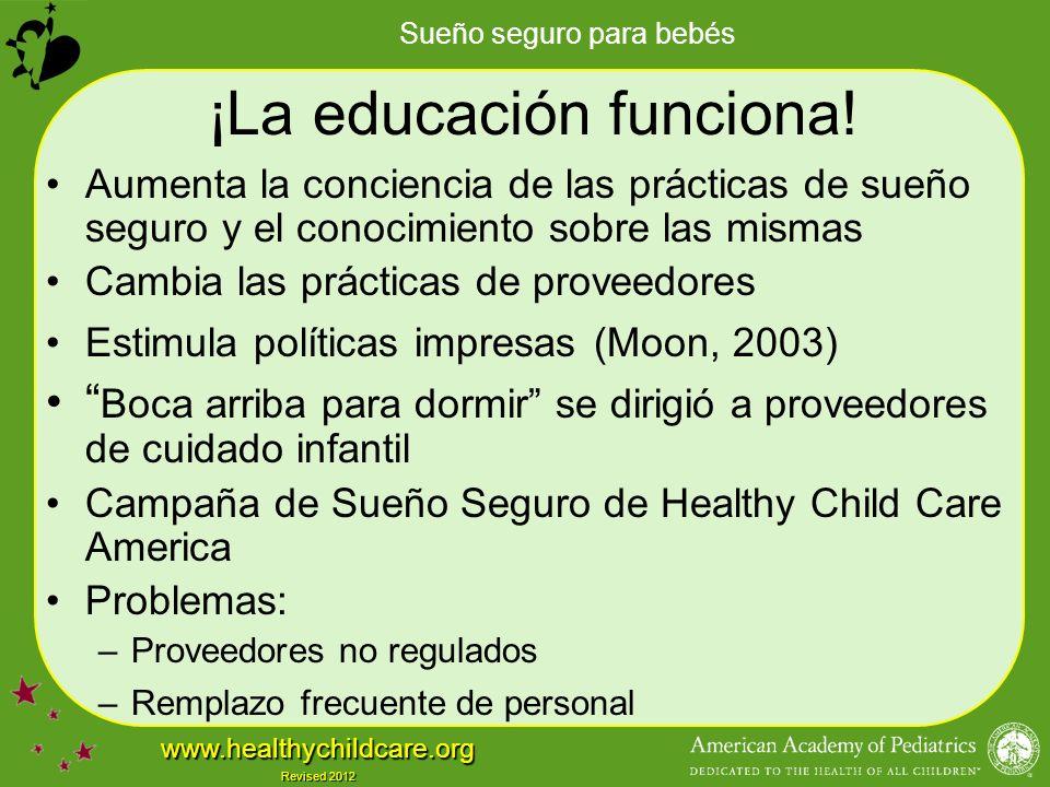 Sueño seguro para bebés www.healthychildcare.org Revised 2012 ¡La educación funciona.