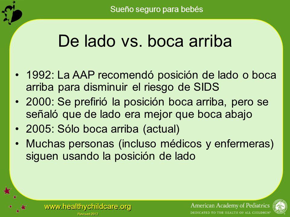 Sueño seguro para bebés www.healthychildcare.org Revised 2012 De lado vs.