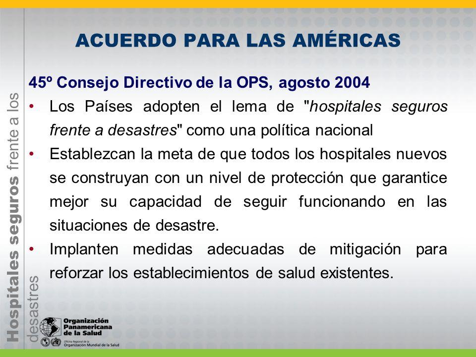 Hospitales seguros frente a los desastres Acciones en AMERICA LATINA Y EL CARIBE Desde la conferencia internacional sobre hospitales seguros de México